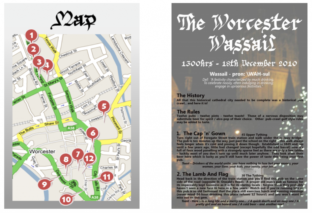 The route guide to the sixth annual pub crawl in the loyal city of Worcester, UK